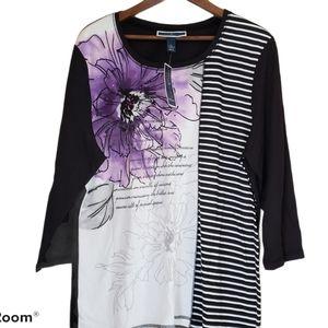 Karen Scott Sport Floral Words Striped Shirt